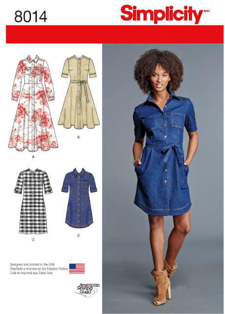 The front cover of Simplicity 8014 sewing pattern showing 4 variations of a shirt dress