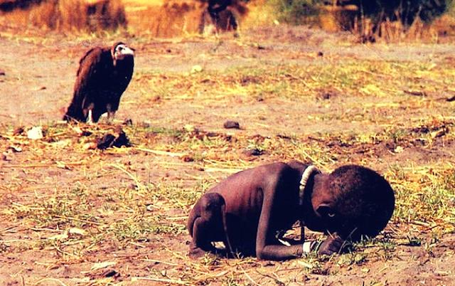 Os fracos são a carne dos fortes post de André Kummer com a foto maldita de Kevin Carter que ganhou com ela o Premio Pulitzer em 1994, publicada no NY Times