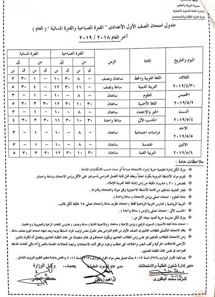 جداول امتحانات آخر العام الترم الثانى محافظة الإسكندرية جميع الصفوف 2019