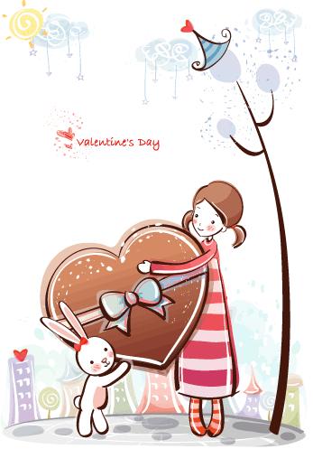 Estampas de San Valentín bombones - Vector