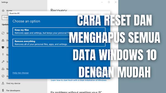 "Cara Reset Dan Menghapus Semua Data Windows 10 Dengan Mudah Perlu di ingat cara ini akan menghapus keseluruhan data yang tersimpan pada penyimpanan. Maka diperlukan kehati-hatian di dalam mengatur ulang atau reset windows pada laptop atau komputer. Pilihan yang digunakan di dalam mengatur ulang atau reset windows 10 pada artikel ini ialah dengan menggunakan ""Remove Everything"".  Jadi apabila reset dengan menggunakan metode ini, akan membuat windows kembali seperti baru dan seluruh data-data yang tersimpan pada penyimpanan akan hilang atau terhapus permanen. Untuk mengatur ulang windows dan menghapus semua data windows 10, silahkan ikuti langkah-langkah berikut ini :  Pada perangkat ""Laptop Pasang Kabel Charger"" terlebih dahulu, karena apabila tidak memasang kabel charger pada laptop proses reset tidak akan berhasil. Pada taksbar kolom pencarian silahkan ketik ""Windows Update Settings"" Pilih ""Recovery"" Pilih ""Get Started"" pada reset this PC Pilih ""Remove Everything"" Pilih ""Local Reinstall"" Pilih ""Next"" Pilih ""Reset"" Proses reset akan berlangsung dan membutuhkan waktu yang sangat lama tergantung banyaknya data pada penyimpanan. Silahkan ditunggu sampai selesai prosesnya. Setelah selesai reset maka windows akan berada pada titik awal seperti baru, maka dari itu silahkan ikuti langkah-langkah pengaturan awal pada windows, seperti pengisian nama perangkat dan lain-lainnya.    Nah itu dia bagaimana cara reset dan menghapus semua data windows 10 dengan mudah, melalui bahasan di atas bisa diketahui mengenai langkah di dalam reset dan menghapus semua data secara permanen pada windows 10. Mungkin hanya itu yang bisa disampaikan di dalam artikel ini, mohon maaf bila terjadi kesalahan di dalam penulisan, dan terimakasih telah membaca artikel ini.""God Bless and Protect Us"""