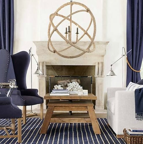 nautical living room with Saturn Rope Chandelier