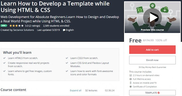 [100% Off] Learn How to Develop a Template while Using HTML & CSS| Worth 174,99$