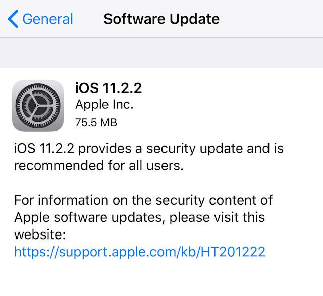 ابل تطلق iOS 11.2.2 لحل مشاكل أمنية [روابط مباشرة]