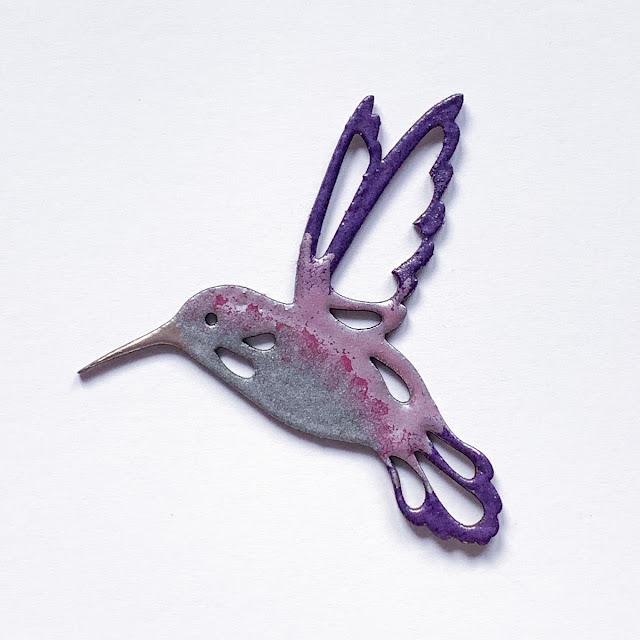 Quietfire Designs / Modern Gilding Powders / chipboard hummingbird /  Kim Gowdy
