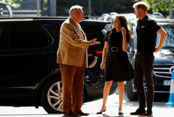 Meghan Markle wore  Customized Stella McCartney dress, and Aquazzura Deneuve flats, Jennifer Meyer Turquoise earrings