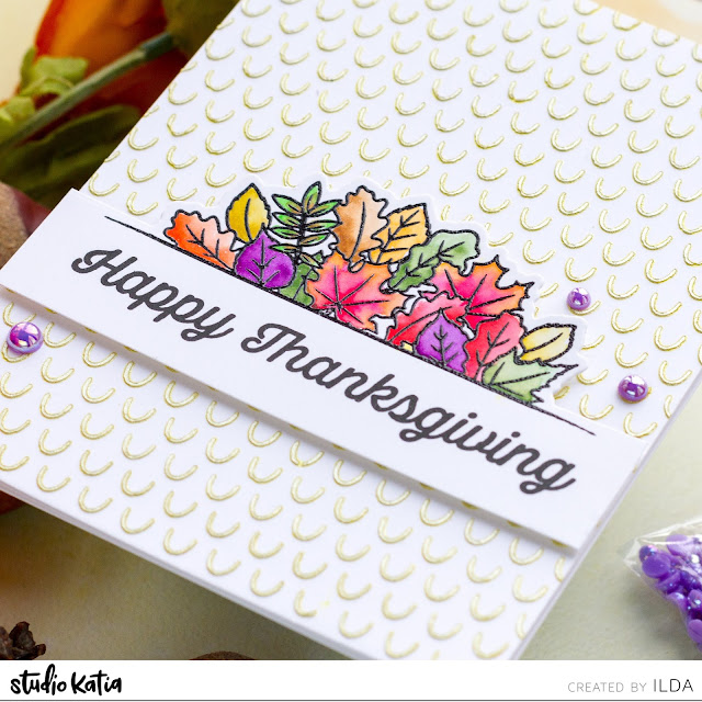 Thanksgiving, Studio Katia, Autumn Borders, Mini Arcs Stencil, Pearls,Karin Brush Marker Pro,Card Making, Stamping, Die Cutting, handmade card, ilovedoingallthingscrafty, Stamps, how to,  card