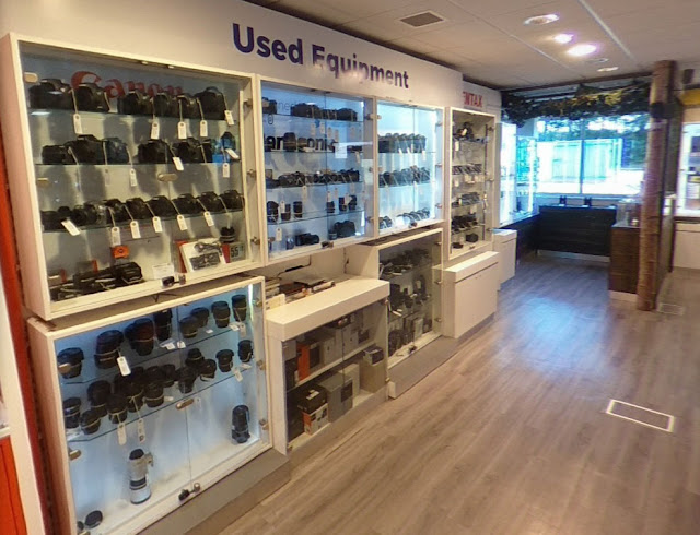 Used camera and lens department in our Sussex store