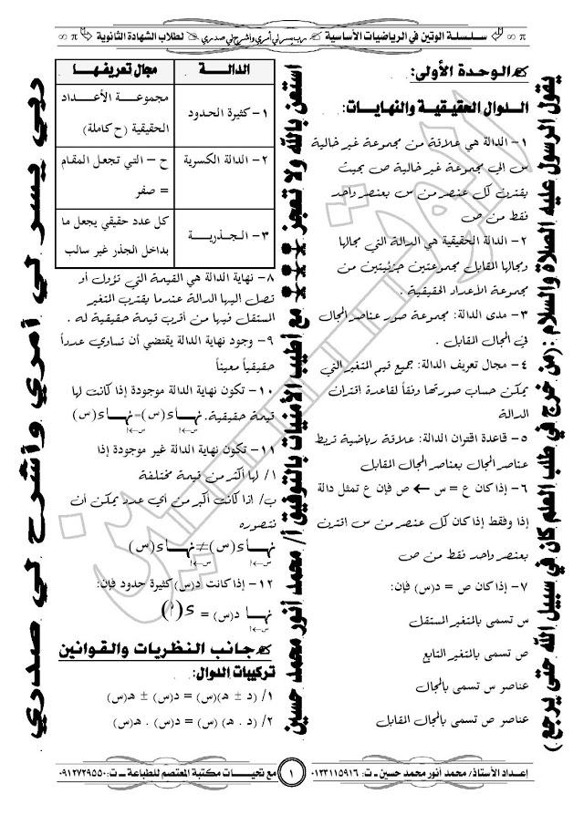مجموعة تعاريف الرياضيات الاساسية - الشهادة السودانية