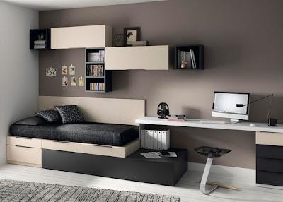 Dormitorio juvenil con cama cubos gris y arena