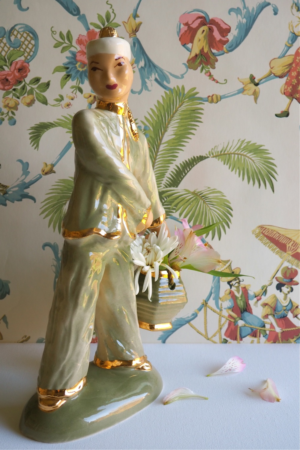 flatten the curve, flatten the coronavirus curve, flatten the COVID-19 curve, flatten the coronavirus COVID-19 pandemic curve, Vintage Finds Hedi Schoop Art Creations, Hedi Schoop ceramics designer, vintage 13 inch tall asian male figurine, vintage chinoiserie figurine, vintage male ceramic asian figurine, Hedi Schoop Hollywood California