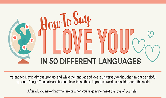 """How to say """"I love you"""" in 50 different languages #infographic"""