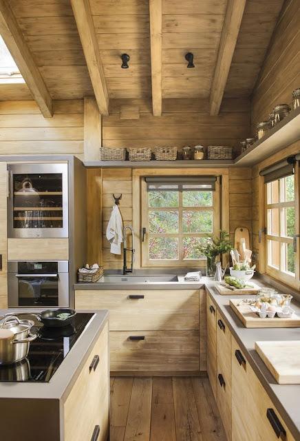 แบบครัวสไตล์ลอฟท์ผนัง เพดาน ทำจากไม้