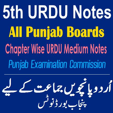 5th Class Notes URDU