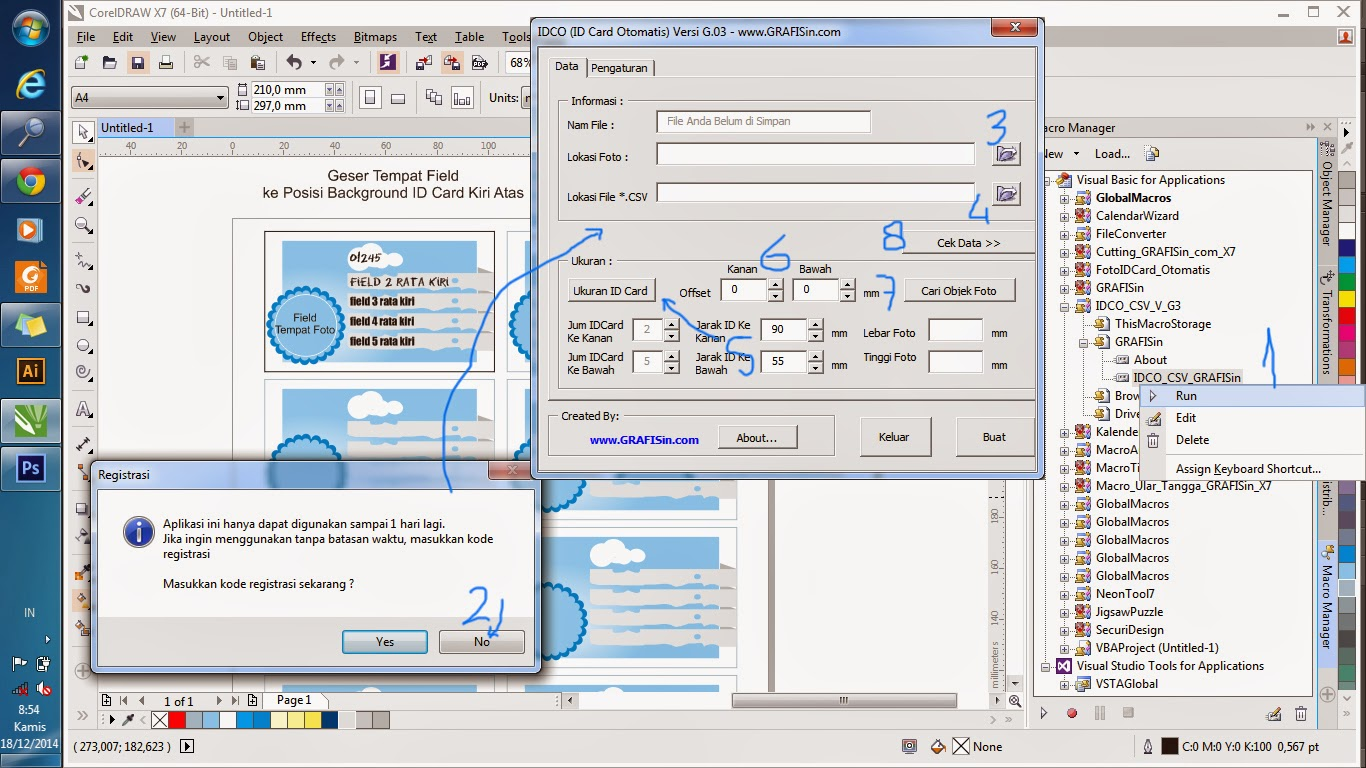 Menjalankan Aplikasi ID Card Otomatis di CorelDraw