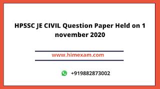 HPSSC JE CIVIL Question Paper Held on 1 november 2020