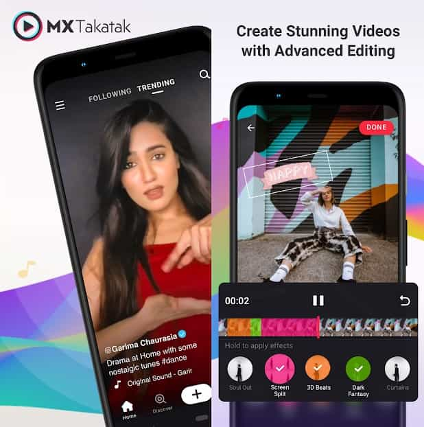 MX TakaTak is an Indian Short Videos App, launched by MX Player.