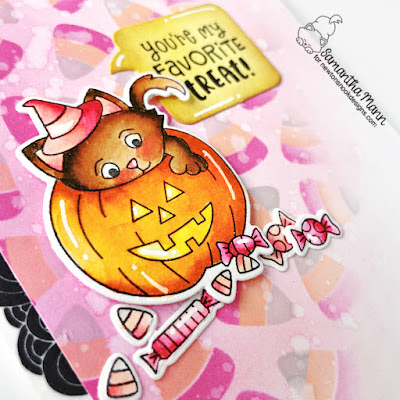 My Favorite Treat Card by Samantha Mann for Newton's Nook Designs, Halloween Card, Cards, Card Making, Candy Corn, #newtonsnook #newtonsnookdesigns #distressinks #inkblending #halloween #halloweencard