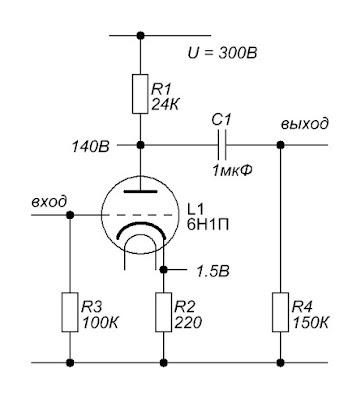 Еще один простой предварительный усилитель на лампе 6Н1П