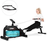 "GOPLUS GYMAX Water Rowing Machine, indoor water rower, with 22"" diameter water flywheel tank, adjustable water resistance with 6 levels"
