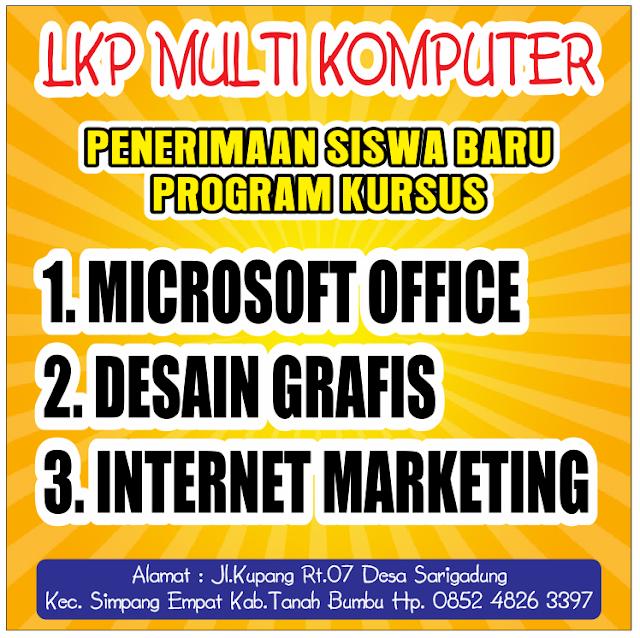 LKP Multi Komputer, Kursus Komputer di Desa Sarigadung Kecamatan Simpang Empat Kabupaten Tanah Bumbu Propinsi Kalimantan Selatan