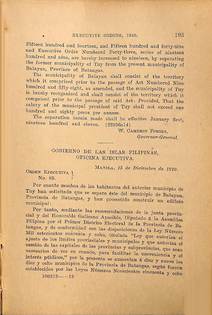 Executive Order No. 85 s. 1919 English version continued; Spanish version.