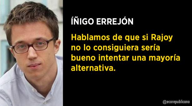 Errejón desvela conversaciones con el PSOE para buscar una mayoría alternativa si Rajoy fracasa