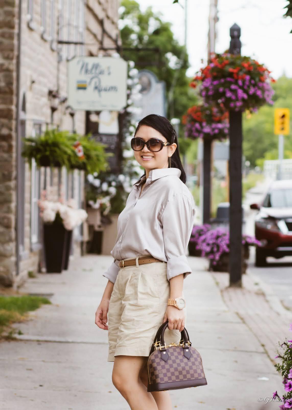 hm satin shirt_uniqlo linen shorts_gold slides_louis vuitton almabb bag_gucci sunglasses_konifer wood watch