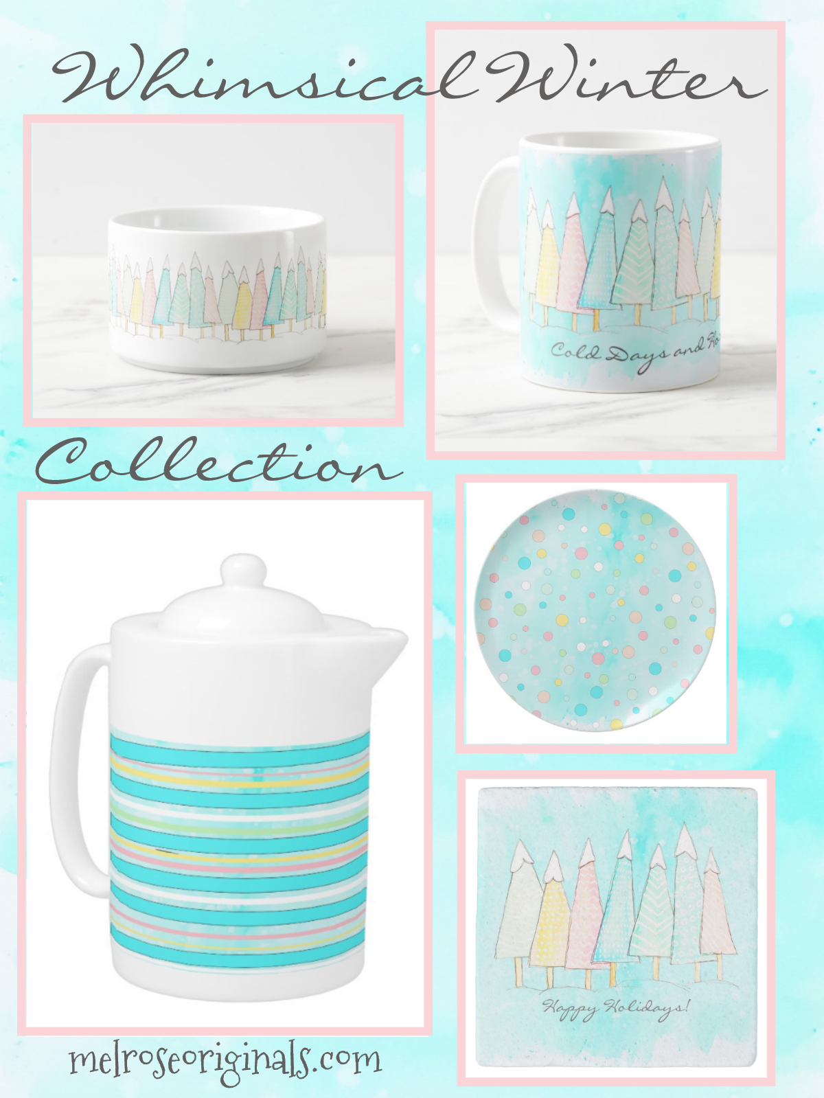 product grid image of whimsical winter pastel holiday collection