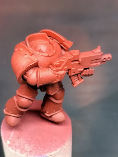 Close up of airbrushed red effect on marine