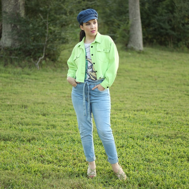 Shein Green Denim Jacket
