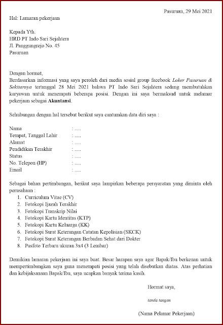 Contoh Application Letter Untuk Akuntansi (Fresh Graduate) Berdasarkan Informasi Dari Media Sosial