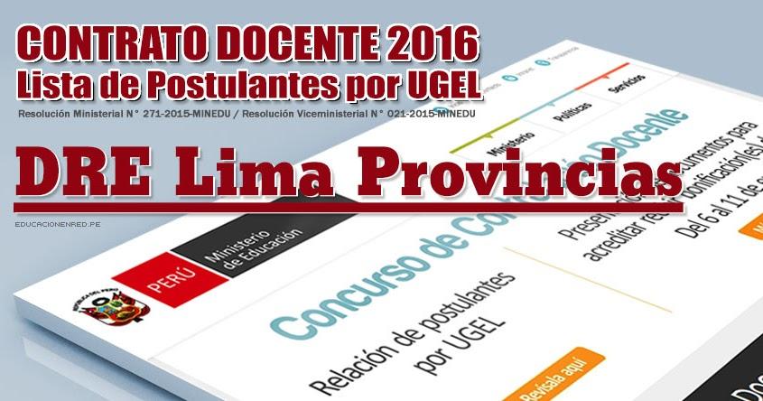Dre lima provincias lista de postulantes por ugel para for Plazas de docentes 2016