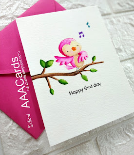 AAA Cards, MFT Stamps - Stacey Yacula - Tweet friends stamp, One layer card, no line water colouring, Zig clean colour brush pens, Quillish, CAS card, clean and simple card