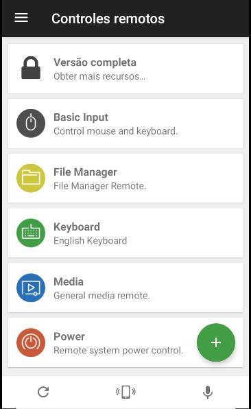 Menu do aplicativo mobile com as opções