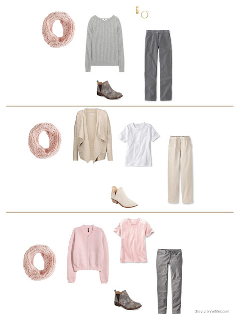 3 outfits using a pink infinity scarf