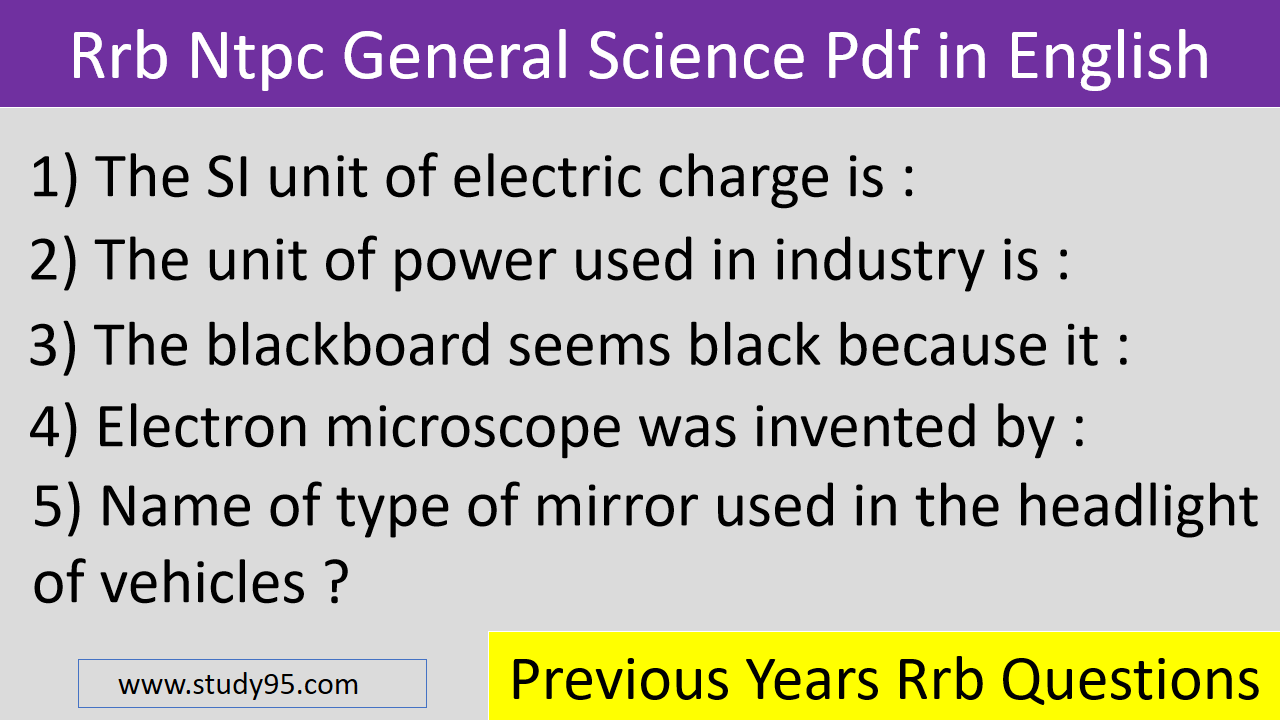 RRB GK Science Questions