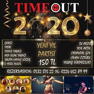 Time Out Bursa Yılbaşı Programı 2020 Menüsü