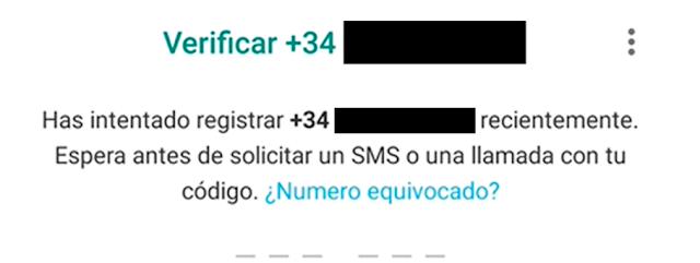 Solicitud de Código de la validación de WhatsApp