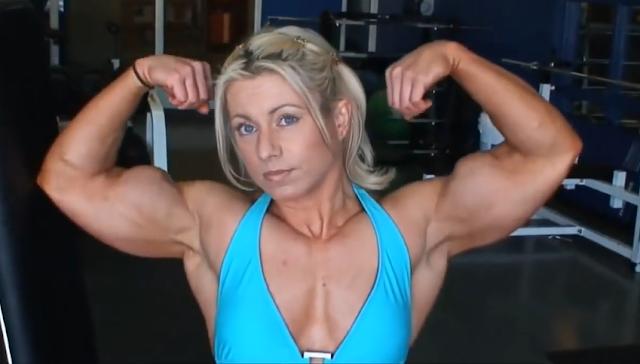 Clip women Bodybuilder has some crazy huge muscle
