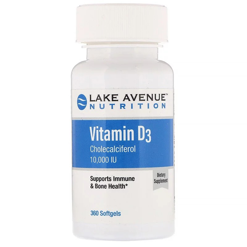 Lake Avenue Nutrition, Витамин D3, 10 000 МЕ, 360 мягких таблеток