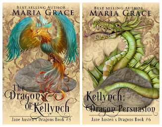 Book covers: The Dragons of Kellynch and Kellynch: Dragon Persuasion