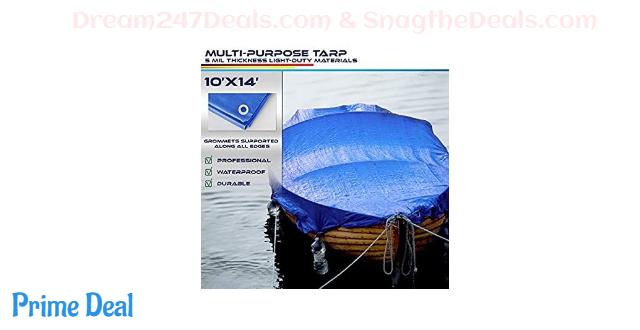50% OFF  Windscreen4less 10' x 14' General Multiple Purpose 5 Mil Waterproof Blue Poly Tarp