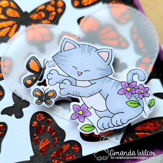 Butterfly Card by Amanda Wilcox | Newton's Flower Garden Stamp Set, Butterflies Stencil Set, Frames & Flags Die Set, and Heart Frames Die Set by Newton's Nook Designs #newtonsnook