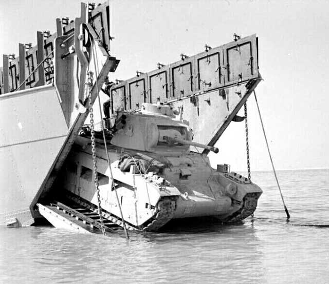 A Matilda tank coming ashore on 9 February 1942, worldwartwo.filminspector.com