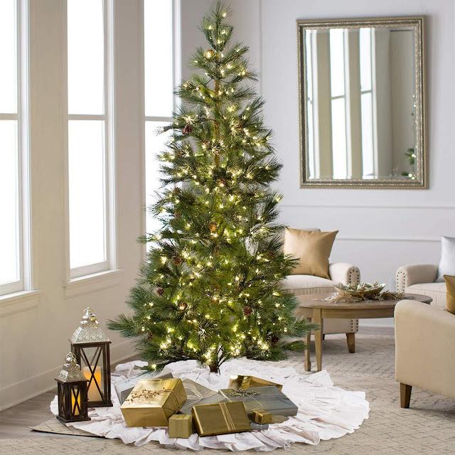 prelit Christmas tree lanterns gifts white rufflee tree skirt