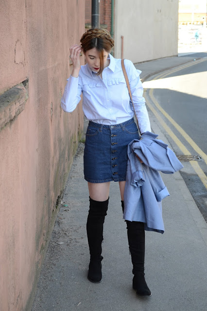 Blue prairie shirt from Marks and Spencer, Alexa Chung style, Thigh high black suede boots from Public desire, Denim skirt, Light blue jacket from Asos.