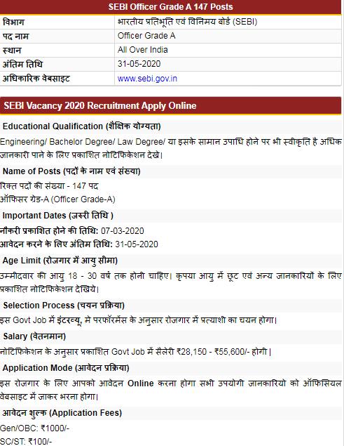 SEBI Officer Grade A Onilne Application form 2020 last date