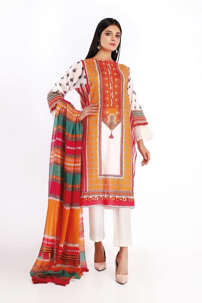 Khaadi Lawn shirt & Shalwar with dupatta Orange Printed color