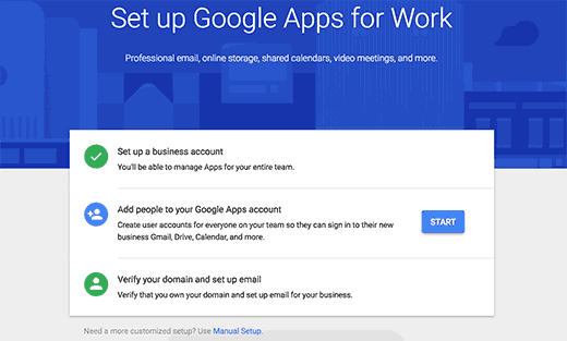 set up google apps for work